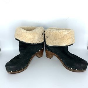 UGG fold down shearling studded clogs